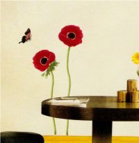 Red Flower and Butterfly Wall Sticker Vinyl Transfere ...